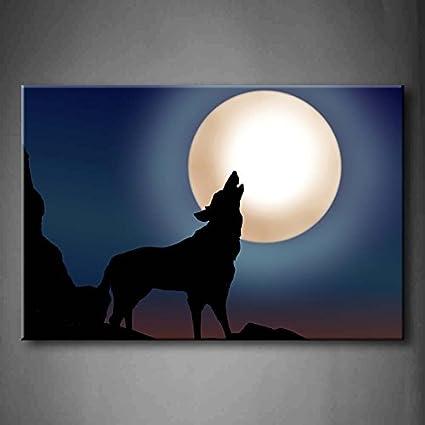 Lobo Aullando A La Luna Llena En La Montaña Pared Arte Pintura La