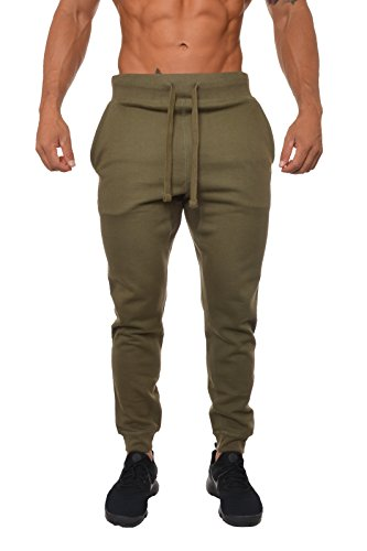 YoungLA Mens Slim Fit Joggers Fitness Activewear Sports Fleece Sweatpants For Gym Training Olive X-Large