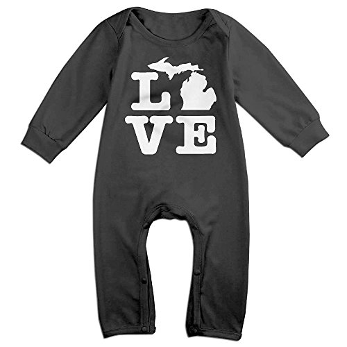 Newborn Kids Organic Coverall I Love Michigan Map Baby Rompers