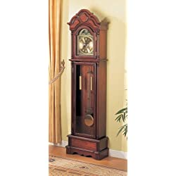 Coaster Home Furnishings Grandfather Clock with Chime Brown Red and Clear