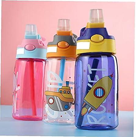 Copa de agua con pajas de alimentación del bebé a prueba de fugas niño creativo dibujos animados botella portátil para al aire libre (rosa), Otros suministros para acampar