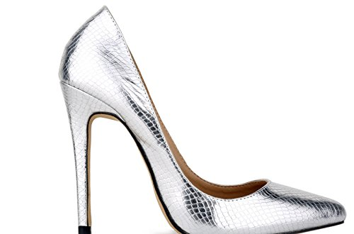 Sexy High Slide Business Lady Office for Women Heels Toe Pumps Silver 24XOmx55S99 Formal Closed Shoes Hz4xqxF5w