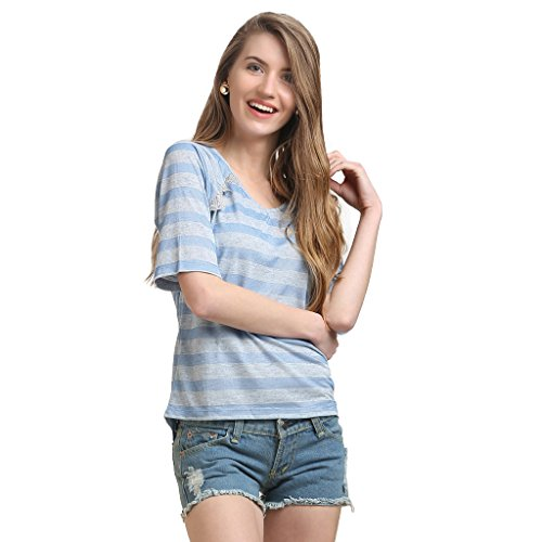 moda elementi Women Striped Half Sleeve Top