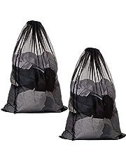 Meowoo 2Pcs Large Mesh Laundry Bag with Drawstring,27×35inch Washing Bag Net for Washing Machine(Black 2PCS)