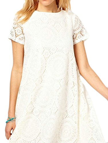 Sleeve White Cromoncent Neck Fit Crew Short Mini A Womens Loose line Lace Dress 77qRUEw