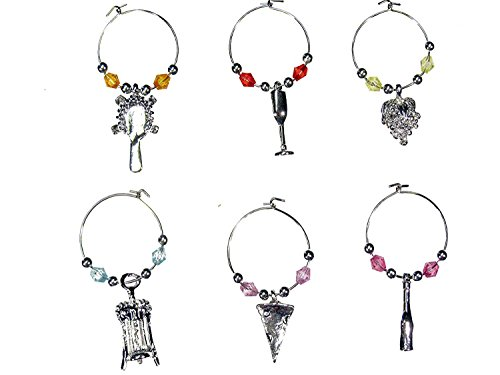 Select Beaded Wine Glass (tag/marker) Charms- Set of 6