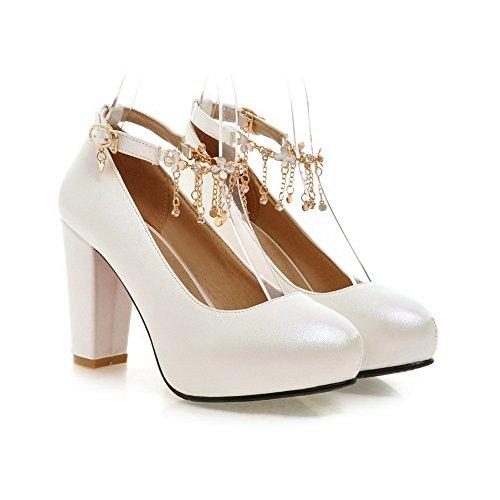 Embroidered Imitated Chain Diamond Leather Shoes White Pumps Girls Glass BalaMasa Metal WngOE4qEX