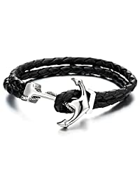 Stainless Steel Mens Women Marine Anchor Bangle Bracelet Genuine Black Braided Leather Wristband