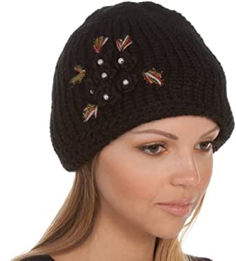 EH019RB - Pearl Flower Accented Double Layered Knitted Fashion Winter Beanie / Cap / Hat ( 6 Colors ) - Black/One Size