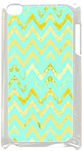 Rusty Gold and Teal Chevron- Case for the Apple Ipod 4th Generation-Hard White Plastic