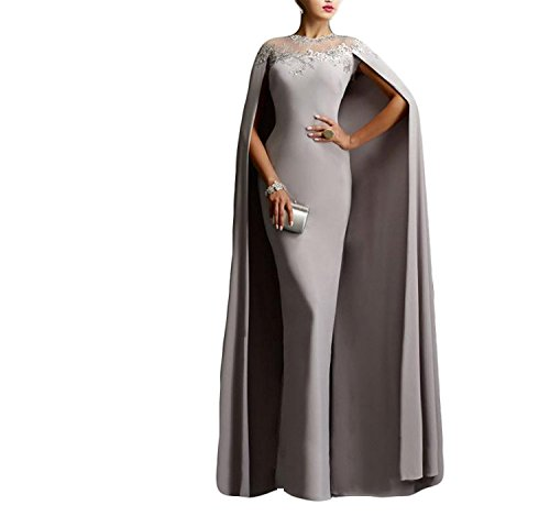 (Ellenhouse Women's Long Mermaid Formal Gown Prom Evening Dresses with Cape EL349 Gray)