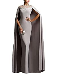 Womens Long Mermaid Formal Gown Prom Evening Dresses With Cape EL349