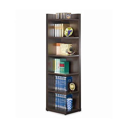 Corner Bookcase Unit 71'' Rogers Collection Contemporary Style in Cappuccino Finish