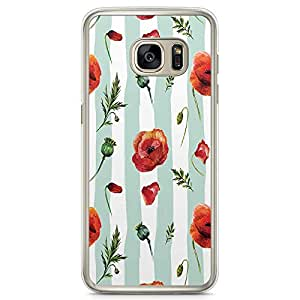 Samsung Galaxy S7 Transparent Edge Phone Case Rose And Petals Phone Case Green Lines Samsung S7 Cover with Transparent Frame
