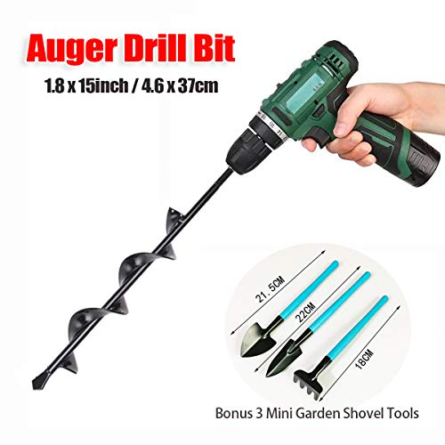 GreatforU Auger Drill Bit Backyard Plant Flower Bulb Seeding, Fast Planter Bulb Bedding Planter for 3/8″ Hex Drive Drill, Earth Auger Drill Fence Put up Umbrella Gap Digger (Black 1.8×15 in / 4.6x37cm)