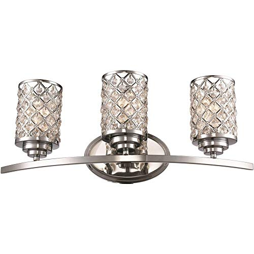 - Trans Globe 70913 PC Infusion - Three Light Bath Vanity, Polished Chrome Finish with Clear Crystal