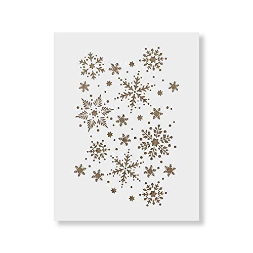 Snowflakes Pattern Stencil - Reusable Christmas Stencil for Holiday Craft Projects