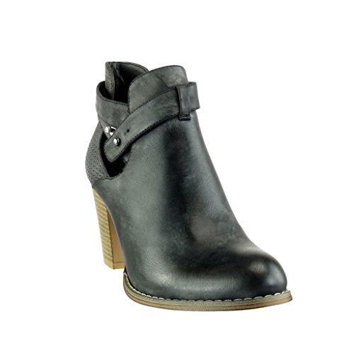 trenzado tachonado abierto Talón Angkorly Negro CM Zapatillas tanga ancho chelsea Botines Tacón alto mujer Moda de 8 stile boots vendimia fxvq7C1