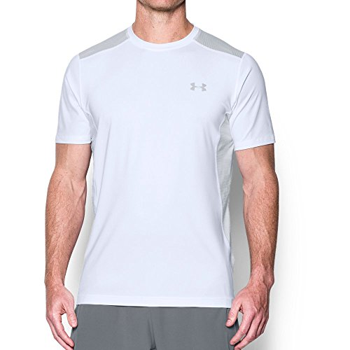 Under Armour Men's Raid Short Sleeve T-Shirt,White (105)/Overcast Gray, (Heatgear Gray T-shirt)