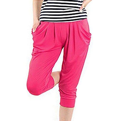 delle ansima grande Pantaloni vita mutandine casuali di seta estate elastica il ghiaccio Rosa di donne di delle formato di 0r06TRq