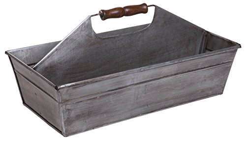 Rustic Metal Farmhouse Tote, Galvanized Storage Caddy Carry-All Tray with Wooden Handle, Large, 15-inch ()