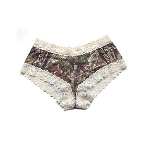 Wilderness Dreams 602250 Lace-Trimmed Boy Short Panties, Mossy Oak w/Cream