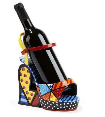 Romero Britto Polystone Construction Platform Shoe Wine Bottle Caddy