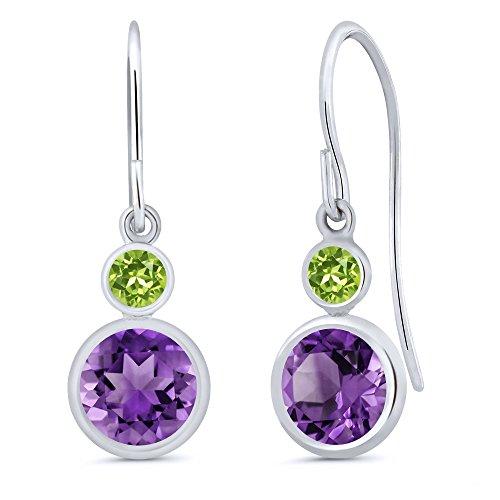 1.64 Ct Round Purple Amethyst Green Peridot 14K White Gold Earrings