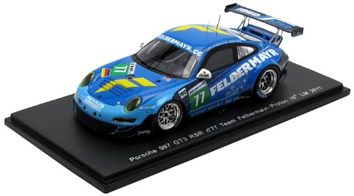 Porsche 997 GT3 RSR No. 77 Team Felbermayr-Proton - 16th Le Mans 2011 - 1/43rd Scale Spark Model
