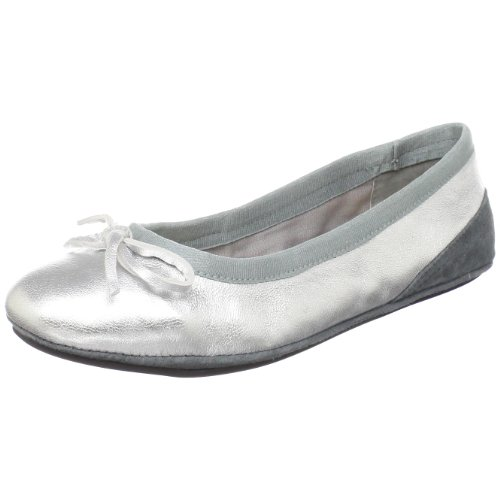 Amiana Womens 15-A5001 Ballet Flat Silver Metallic LaaPN3UA