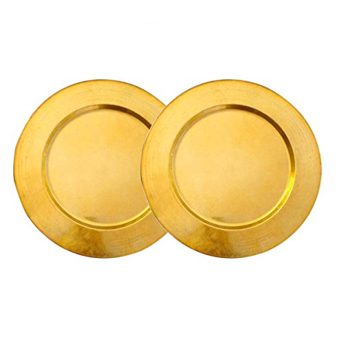 """AsiaCraft Metal Brass Finish 14"""" Charger Plate for Wedding, Parties and Holidays, Set of 2"""