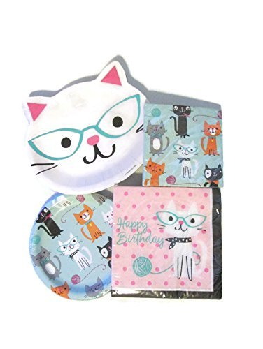 Cat Themed Dessert and Lunch Plates, and Lunch and Beverage Napkins Bundle - Paper -