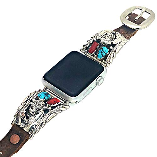 - Genuine Kingman Turquoise and Coral Apple Watch Replacement Band with Buffalo in 925 Sterling Silver and Leather, Signed Hallmarked Authentic Navajo Native American, USA Handmade, 38mm, 40mm, 42mm