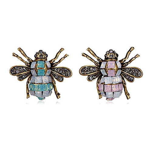 W WOOGGE 2 Pack of Women Animal Honey Bee Brooch Pin Blue Pink Opal Rhinestone Antique Silver Tone Insect Wedding Pin for Girl