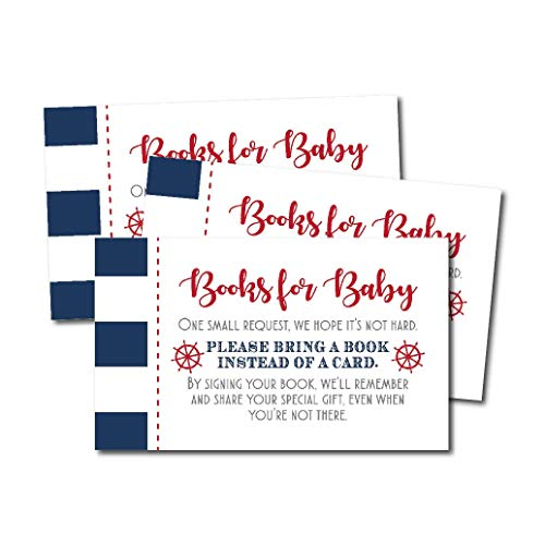 25 Ahoy It's A Boy Books for Baby Request Insert Card for Ba