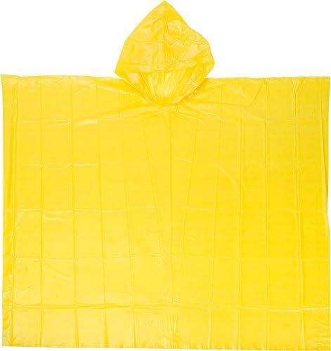 Regenponcho geel met capuchon en etui geurarm universeel