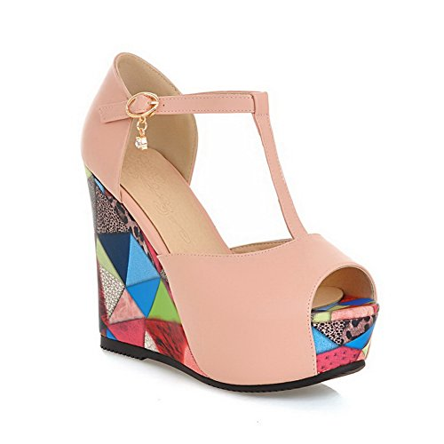 Strap Bottom Pink 1TO9 Girls Matching Thick T Color Material Sandals Heel Soft OOAFBw4q
