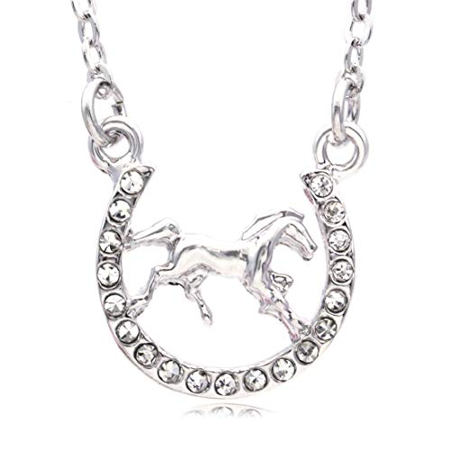 Soulbreezecollection Horse Mustang Pony Horseshoe Necklace Pendant Good Luck Charm Western Cowboy Cowgirl