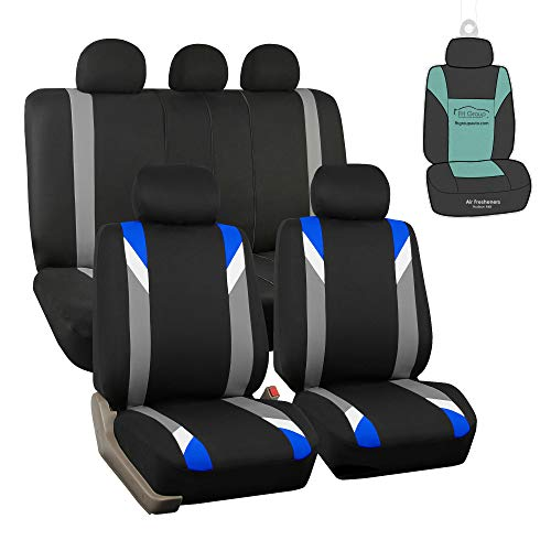 2019 Hyundai Elantra Sedan - FH Group FB033115 Premium Modernistic Seat Covers Airbag & Split Ready, Blue/Black Color with Gift - Fit Most Car, Truck, SUV, or Van