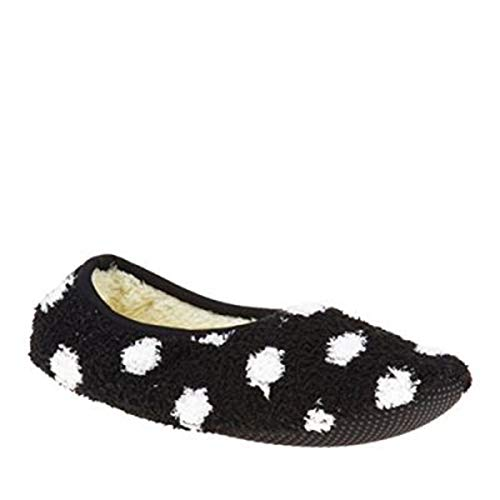 Super Soft Cozy Slippers with Slip-Resistant Bottom Sole (Small (Womens 5.5-7), Black with White Dots) - Hardwood California Bed