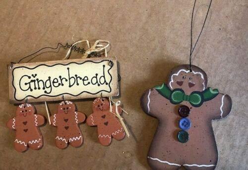 Country Primitive Gingerbread Men Buttons Kitchen Ornament Decor Wood Sign 2 pc - ()