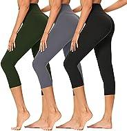 Gayhay 3 Pack High Waisted Capri Leggings for Women-Tummy Control Workout Running Pants - Reg & Plus