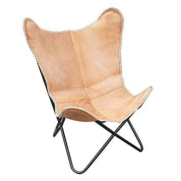 B de Marchandises – Fauteuil design Lounge Butterfly en cuir de vachette Fauteuil  butterfly Chair Chaise 8e500bb90c96
