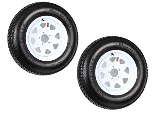 2-Pack Trailer Tire On Rim ST205/75D15 Load C (5 Lug On 4.75 in.) White Spoke NOTE: IRREGULAR 5 ON 4.75 BOLT PATTERN ()
