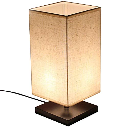 LED Modern Design Bedside Table Lamp, Minimalist Solid Wood Desk Lamp, Bedside Living Room Square Nightstand Light with Flaxen Fabric Shade is Perfect for Bedroom,Kids Room, College Dorm, Coffee Tabl by W-LITE