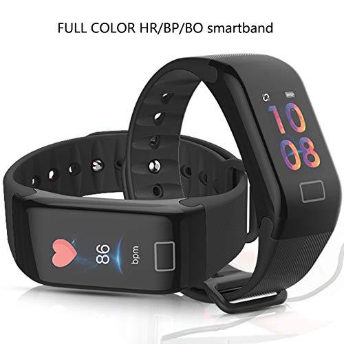 Kioos Color IPS Screen Heart Rate Blood pressure Blood Oxygen Monitor Smart bracelet Fitness Tracker IP67 Waterproof Black