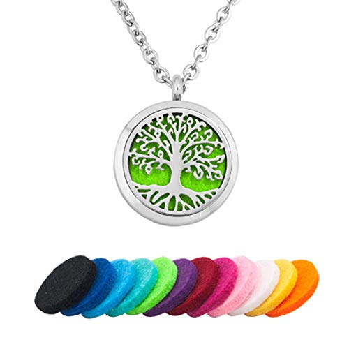 CLY Jewelry Aromatherapy Essential Oil Diffuser Necklace Stainless Steel Locket Pendant Tree of Life Hope Never Be End with Refill Pads ECO