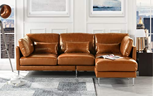 (Modern Leather Sectional Sofa, L Shape Couch (Light Brown) )