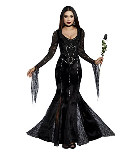 Morticia Costume Amazon (Dreamgirl Women's Frightfully Beautiful, Black, L)