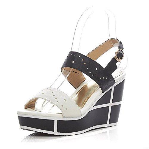 AmoonyFashion Womens Buckle High-Heels Cow Leather Assorted Color Open-Toe Sandals Black vra7zZoQ5